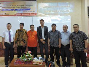 Foto bersama pimpinan Fakultas MIPA Unpatti, Ketua Jurusan Matematika FMIPA Unpatti dan para Narasumber kegiatan Workshop